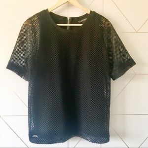 Banana Republic Mesh Overlay Zip Back Top